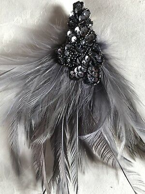 Accessorize grey feather hair piece party weddding