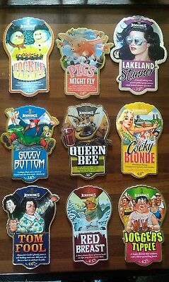 Lot # 5 Set of 9 x Jennings Beer Real Ale Pump Clips Badges