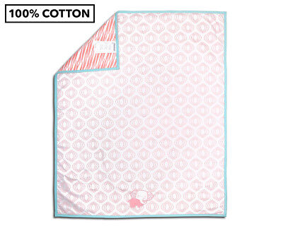The Peanut Shell Global Separates Elephant Coverlet - Pink/Teal