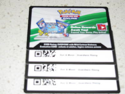 3x Sun and Moon Guardians Rising code card - Pokemon TCG online MESSAGED