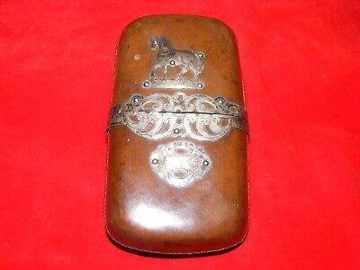 ~~Stylish Antique Silver Mounted  Leather Cigar Case Holder,silver Mark~~