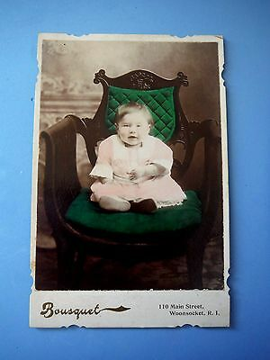 Colored Cabinet Card / Bousquet / Woonsocket Rhode Island / Baby on Green Chair