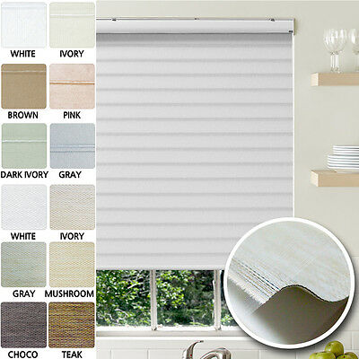 100% Blackout Sheer Shades Three Layers of Fabric Roller Blinds Custom Made