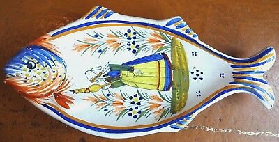 Rare Shape Vintage Henriot Quimper Faience Hand Painted Fish Dish - Signed