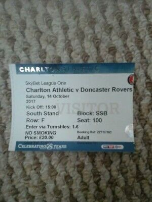 Charlton Athletic v Doncaster rovers  league one ticket  14/10/17