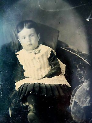 Tintype / 19th c. Seated Little Girl in studio setting