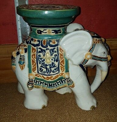 "Signed Vintage Ceramic 11"" LARGE CREAM & GREEN Indian Elephant Plant Pot Stand"