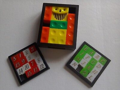 3 Vintage Sliding Tile Puzzles Including RARE Mint-Man from 1982