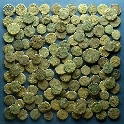 Lot of 130 Uncleaned Roman Bronze Coins