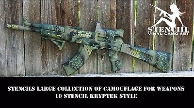 Stencils Large collection of camouflage for weapons Kryptek Duracoat Gunkote