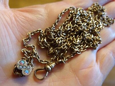 Antique Victorian GF? Watch Slide Chain Necklace Opal & Seed Pearls