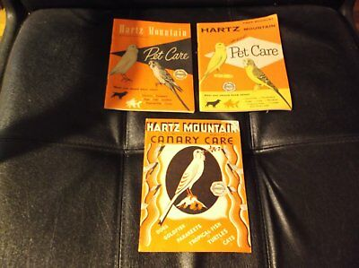 3 Vintage Hartz Mountain Pet Care Booklets