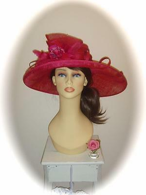 Mother of Bride Ascot Occasion Wedding Condici 9158 Hat, Pink Cosmo