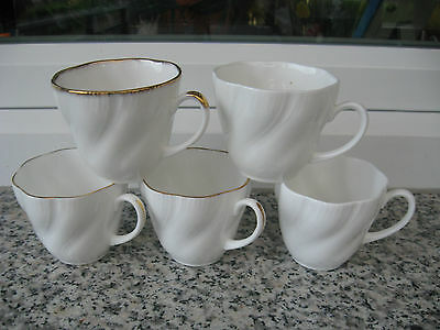 3 Tasses Cafe Blanche Filet Or 2 Tasses Blanches Relief