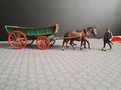 Old lead FARM WAGON  with HORSES and CARTER