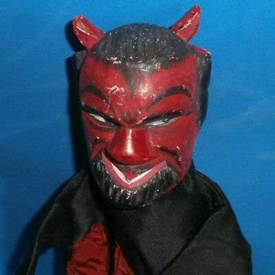 c19th CHARACTER Punch &Judy wooden carved MARIONETTEN /PUPPET krampus devil HEAD