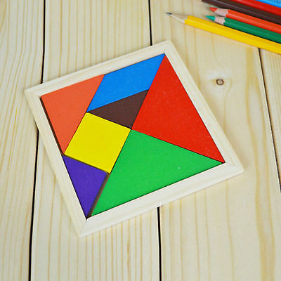 7Piece Magic Wooden Puzzle Tangram Brain Teaser Kid Educational Game Toy UK New