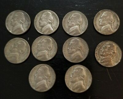 SET OF  10 Jefferson War Nickels: 1942-1945 PDS MISSING ONLY 1945S