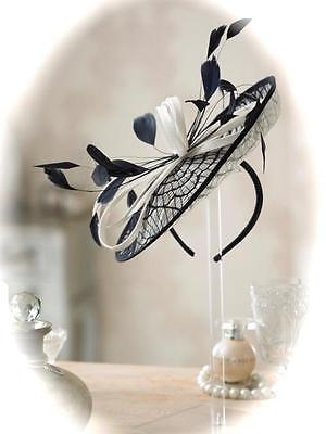 Mother of Bride Ascot Occasion Wedding Condici 7272 Fascinator, Ivory/Black