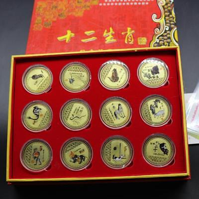 1set Chinese Zodiac 24K Gold Plated Gold Colour Medal Coin Qi Baishi Style
