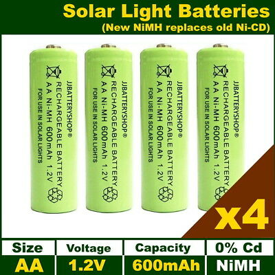 4 x AA Solar Light Batteries Rechargeable 1.2V 600mAh NiMH Replacements for NiCd