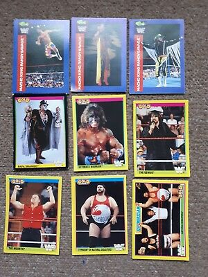 wwe wwf 9 trading cards 1991 - 92 merlin gold