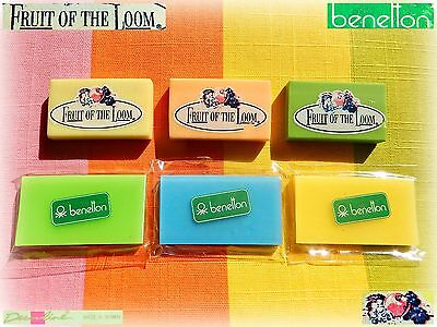 🍇 VINTAGE 80 FRUIT of the LOOM + BENETTON 7 Eraser Gommine collezione sigillate