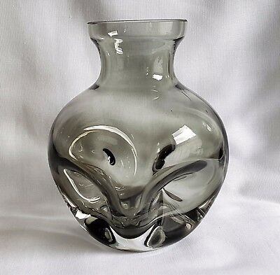 Vintage Scandinavian Hand Blown Smoked Glass Hyacinth Bulb Vase Dimple Design