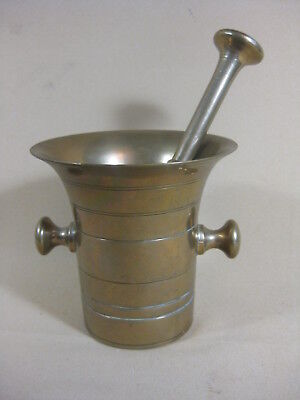 ANTIQUE 18th / 19th C BRONZE MORTAR WITH PESTLE