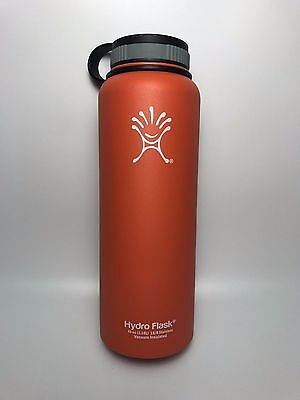 Orange 40oz Hydro Flask Insulated Stainless Steel Water Bottle, Wide Mouth