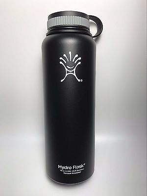 Black 40oz Hydro Flask Insulated Stainless Steel Water Bottle, Wide Mouth