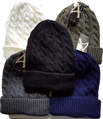 Mens Ladies Unisex  Winter Warm  Hat Cable Knit Turn Up Beanie Hat One Size