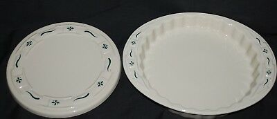 """Lot 2 Longaberger Woven Traditions Green Quich Pan & 8"""" Round Trivet"""