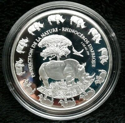 2016 Benin Rhino Protection De La Nature 1 Oz Silver Prooflike Coin 1000 Francs