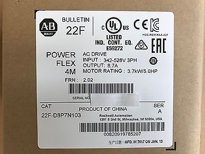 NEW SEALED 2017 Allen Bradley 22F-D8P7N103 /A PowerFlex 4M AC Drive 3PH 8.7A 5HP