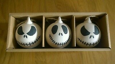 Handcrafted Jack Skellington Ceramic Christmas Baubles - Pack Of Three