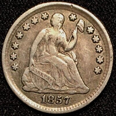 1857 Liberty Seated Half Dime - VF+ Very Fine+ to XF Extra Fine