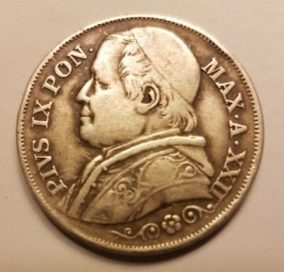 Italy Papal States 2 lire, 1867 silver coin