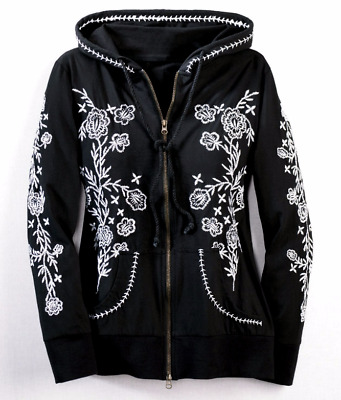 Embroidered Zip Winter Hoodie Sweater Jacket Black White Seventh Avenue M L XL