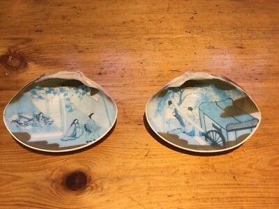 Two Japanese Hand Painted Sea Shells Very Rare And Unusual With Gold Edges
