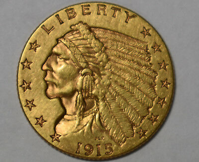 US 1915 $2 1/2 Dollar Gold Quarter Eagle AU Condition or Better!  *LOOK*