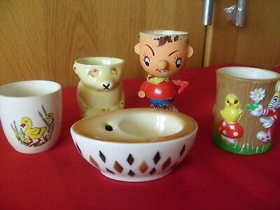 5 Vintage Collectable Eggcups . Noddy. Goebel Teddy
