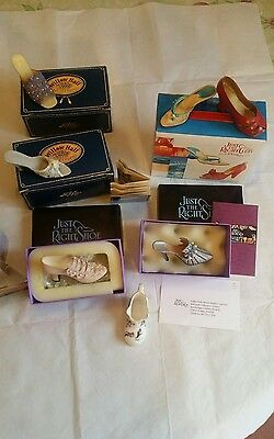 Bundle: 6 Ceramic Miniature Shoes Boxed+1 Bone China Unboxed Collectabe