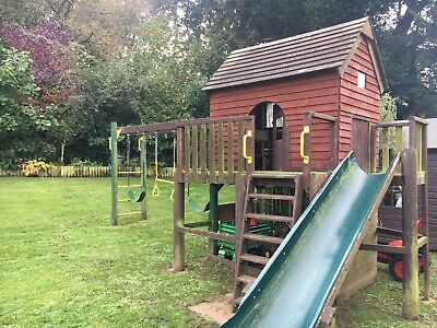 Wooden Climbing Frame with Slide, Swings, Glider, Monkey Bars & Picnic Bench