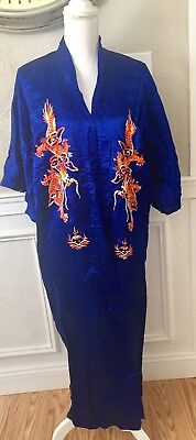 Vintage Very Old Asian Silk Robe Dragons Japanese Embroidered