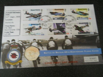 GBFDC 2000 Battle of Britain 60th Anniversary Flown Cover with Guernsey 50p Coin