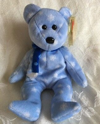 TY Beanie Baby Blue 1999 Holiday Teddy Bear with Snowflake Scarf