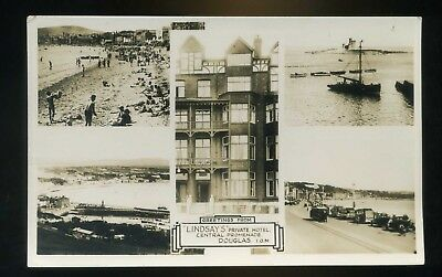 DOUGLAS Isle of Man Greetings - Lindsday's Hotel Central Promenade Multi View RP