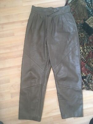 Khaki Leather Cropped Trouser 8/10 Indie Vintage 80s High Waisted