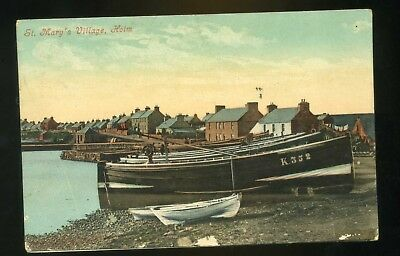 HOLM,  ST MARY'S / ORKNEY View of village with boats  coloured (Stromness P/M)